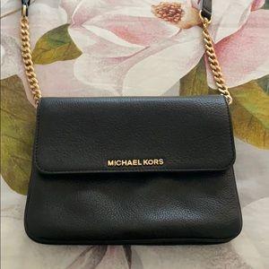 Michael Kors cross body black leather bag